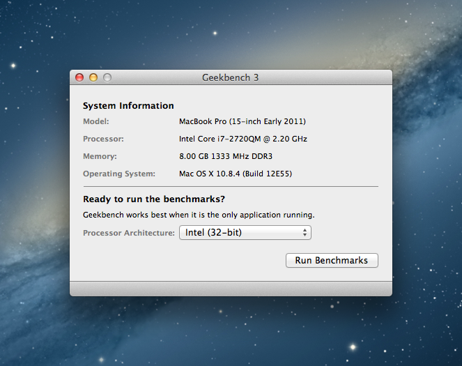 Geekbench for Mac OS X full screenshot