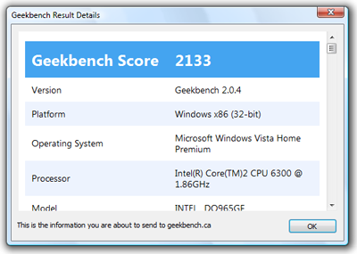 Geekbench Result Details dialog box